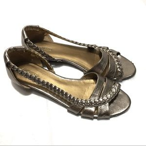 Seychelles Gold Leather Open Toe Sandals